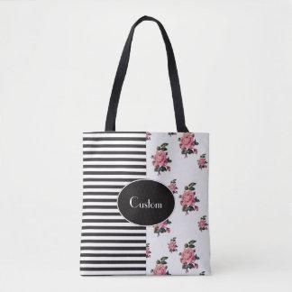 Half and Half Stripe and Rose Floral Tote Bag