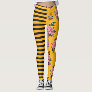 Half and Half Stripe Rose Floral Black and Gold Leggings