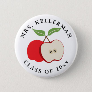 Half Apple Add Teacher's Name and Year 2 Inch Round Button