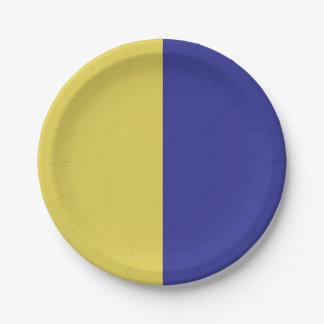 Half Blue / Half Yellow Paper Plate