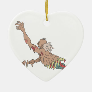 Half Bod Creepy Zombie Dragging Intestines Ceramic Ornament