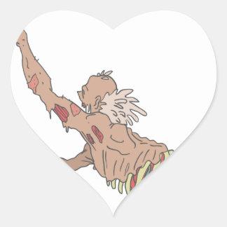 Half Bod Creepy Zombie Dragging Intestines Heart Sticker