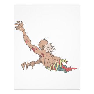 Half Bod Creepy Zombie Dragging Intestines Letterhead