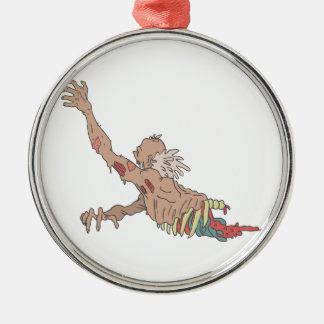 Half Bod Creepy Zombie Dragging Intestines Metal Ornament
