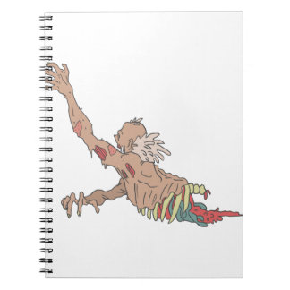 Half Bod Creepy Zombie Dragging Intestines Notebooks