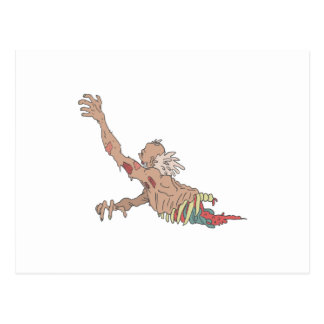 Half Bod Creepy Zombie Dragging Intestines Postcard