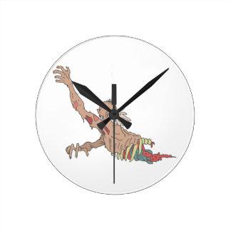 Half Bod Creepy Zombie Dragging Intestines Round Clock