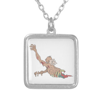 Half Bod Creepy Zombie Dragging Intestines Silver Plated Necklace