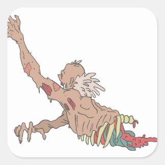 Half Bod Creepy Zombie Dragging Intestines Square Sticker