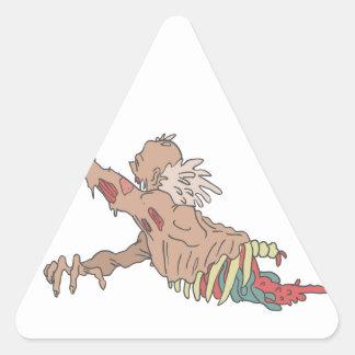 Half Bod Creepy Zombie Dragging Intestines Triangle Sticker