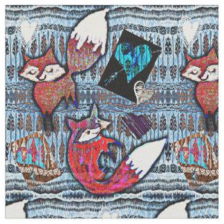Half Brick Fox & Hearts Patterned Fabric