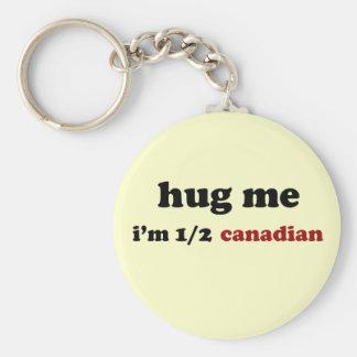 Half Canadian Basic Round Button Keychain