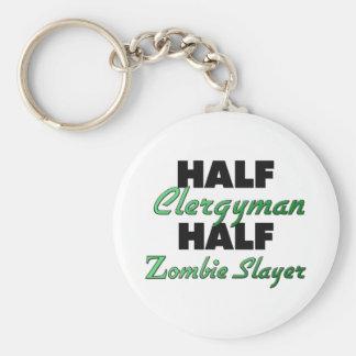 Half Clergyman Half Zombie Slayer Keychain