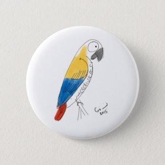 half color parrot 2 inch round button