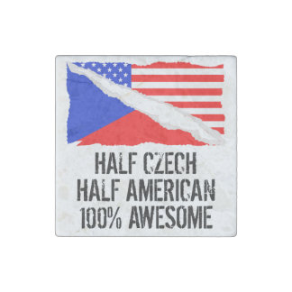 Half Czech Half American Awesome Stone Magnets