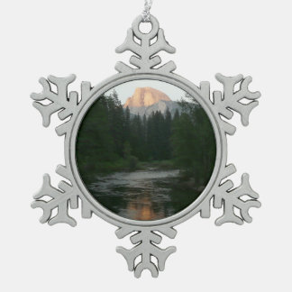 Half Dome Sunset in Yosemite National Park Pewter Snowflake Ornament