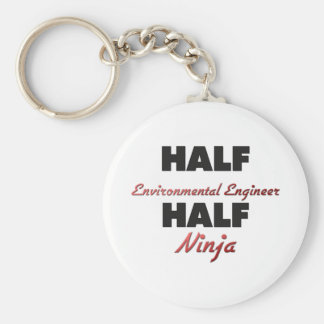 Half Environmental Engineer Half Ninja Basic Round Button Keychain