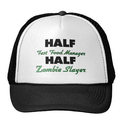 Half Fast Food Manager Half Zombie Slayer Mesh Hats