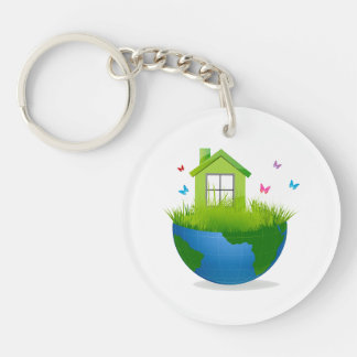 half globe with green house and birds ecolog desig Double-Sided round acrylic keychain