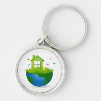 half globe with green house and birds ecolog desig Silver-Colored round keychain