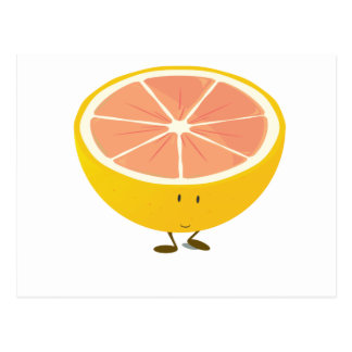 Half grapefruit smiling character postcard