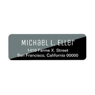 half-gray half-black modern return address label