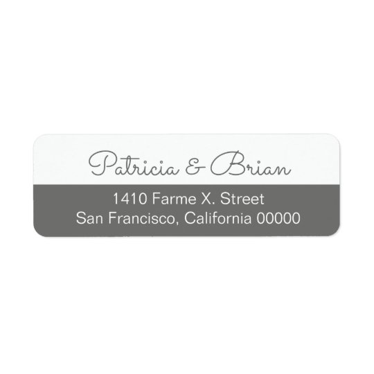 half grey modern address label with couple names