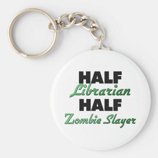 Half Librarian Half Zombie Slayer Keychains