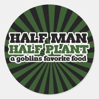 Half Man Half Plant A Goblins favorite food Classic Round Sticker