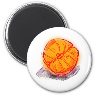 half mandarin cartoon style illustration 2 inch round magnet