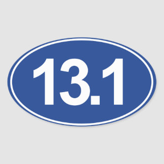 Half Marathon 13.1 Miles  Oval Sticker (Blue)