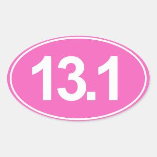 Half Marathon 13.1 Miles Oval Sticker (Pink)