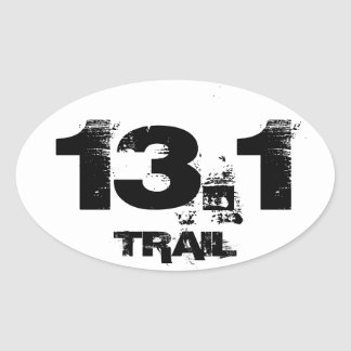 Half Marathon 13.1 TRAIL Oval Vehicle Decal Oval Sticker
