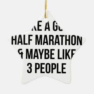 Half Marathon & 3 People Ceramic Ornament