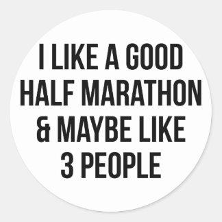 Half Marathon & 3 People Classic Round Sticker