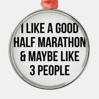 Half Marathon & 3 People Metal Ornament