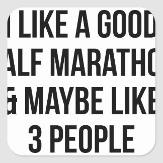 Half Marathon & 3 People Square Sticker