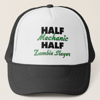 Half Mechanic Half Zombie Slayer Trucker Hat