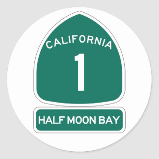 HALF MOON BAY ROUND STICKER CA1 HIGHWAY SIGN