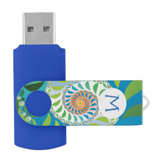 Half Moon Spiral Fractal USB Flash Drive