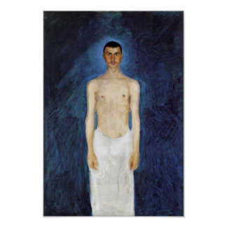Half-Nude Self-Portrait Against A Blue Background Poster