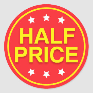 Half price sale, red and yellow retail stickers