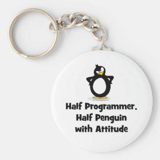 Half Programmer Half Penguin with Attitude Keychain