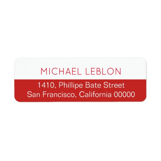 half red return address label with name