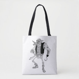 Half Skeleton Pirate Tote Bag