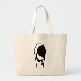 Half Skull in Coffin Large Tote Bag