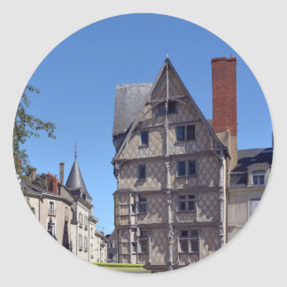 Half-timbered house in Angers Classic Round Sticker