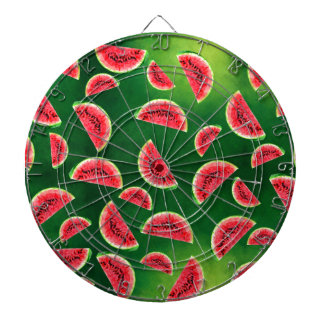 half watermelon illustration in triangle pattern dartboard