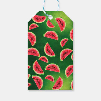 half watermelon illustration in triangle pattern gift tags