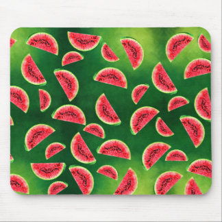half watermelon illustration in triangle pattern mouse pad